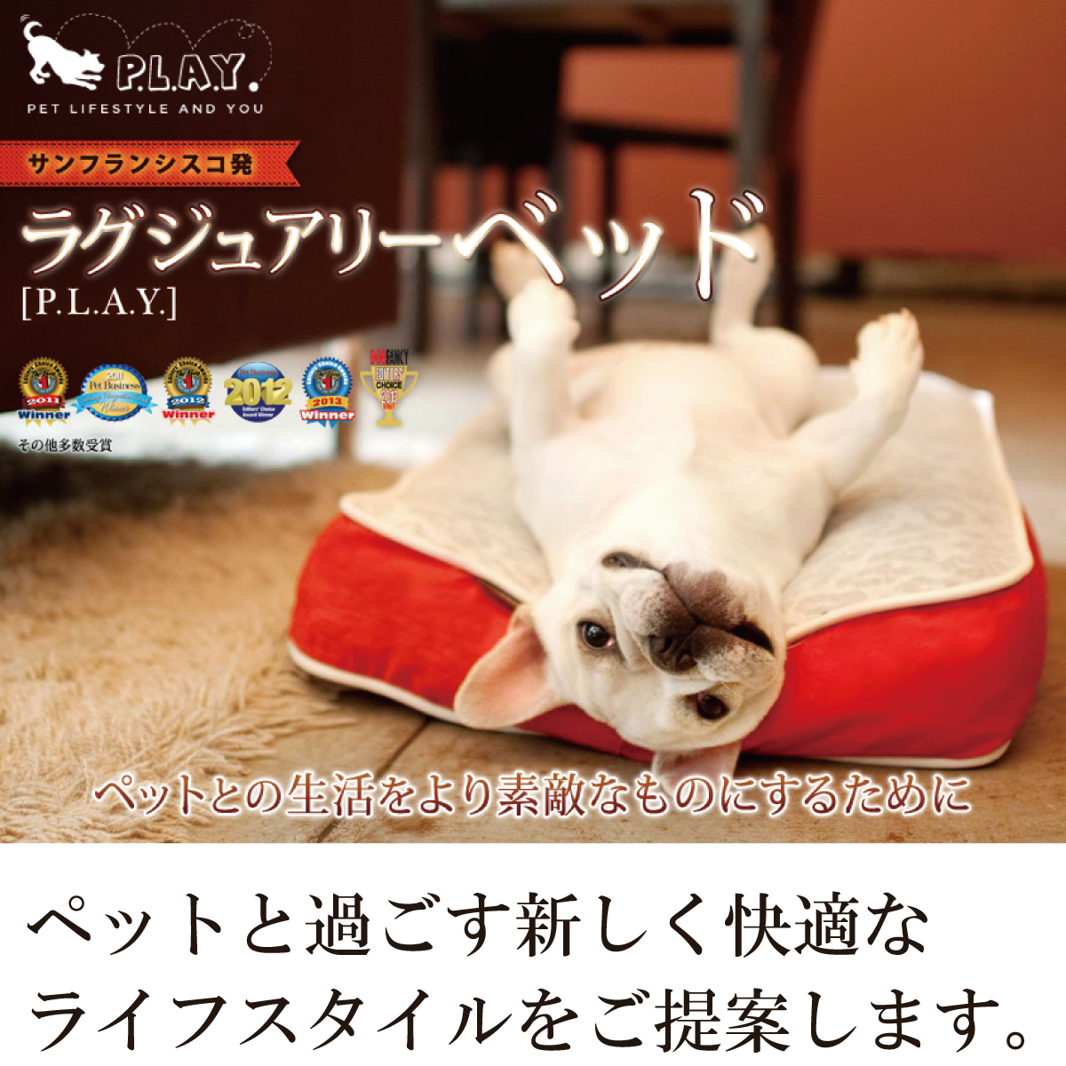 ペットとの生活をより快適にするためのラグジュアリーベッド。ペットと過ごす新しく快適なライフスタイルをご提案します。